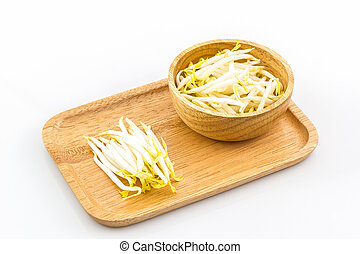 Bean sprout in the in wooden plate - Bean sprout in the in...