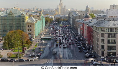 above view of Lubyanskaya and Novaya Square in Moscow timelapse in spring day