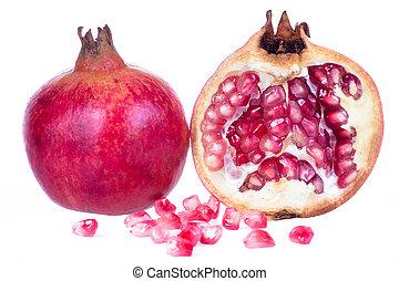 Ripe pomegranate fruit isolated on white - Ripe pomegranate...