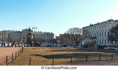 Saint Petersburg, Russia. St. Isaac Square and Cathedral near monument to Emperor Nicholas the 1st