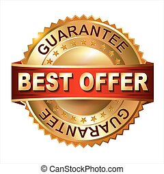 Best Offer golden label with ribbon - Best Offer golden...