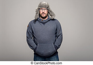 Serious man in winter fashion - Serious attractive...