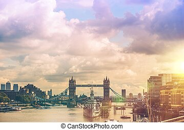 London River Thames Panorama. London, England, United...