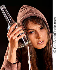 Drunk girl holding bottle of vodka - Drunk girl holding...