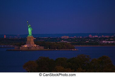 New York Statue of Liberty at Night Liberty Island in New...