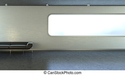 Black couch in interrior wall window copyspace - hitech...