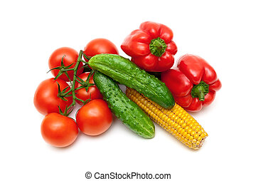 Vegetables isolated on white background close up