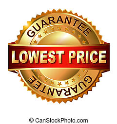 Lowest Price golden label with ribbon. - Lowest Price golden...