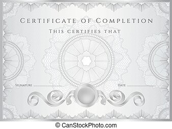 Certificate, Diploma of completion. Guilloche - Certificate,...