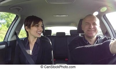 Man And Woman In Car Accident Crash - Married white couple...