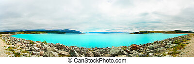 Lake Pukaki - Beautiful incredibly blue lake Pukaki at New...