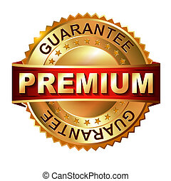 Premium golden label with ribbon. - Premium golden label...