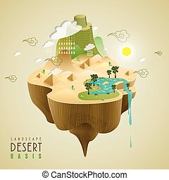 oasis landscape design - oasis in the desert concept in 3d...