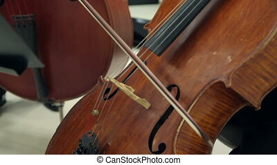 Play The Violin and Cello - Musician Playing The Cello Bow...