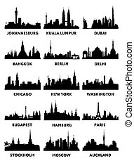 Vector silhouettes of the skylines