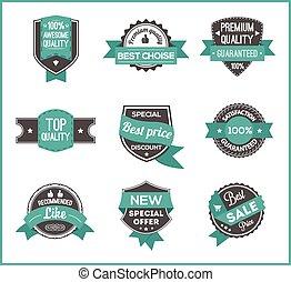 Turquoise label marketing (set of 3