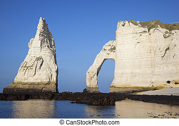 Horizontal view of Etretat Aval cliff