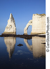 Vertical view of Etretat Aval cliff - Etretat Aval cliff and...