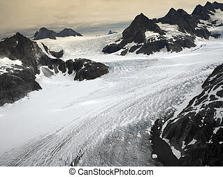 The Mendenhall Glacier in the Juneau Icefields in Alaska USA...