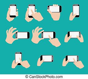Set of hand holding smart phone