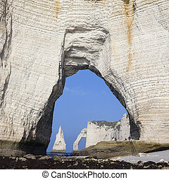 Chalk cliffs at Cote dAlbatre Alabaster Coast Etretat,...
