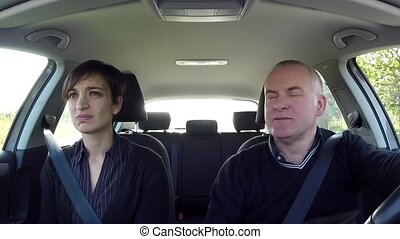 Sick Woman With Nausea In Car - Married caucasian couple on...