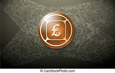 Brown background with abstract cobweb and pound sterling...