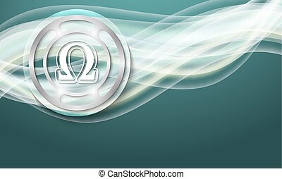 abstract background with waves and omega symbol