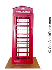 Classic British red phone booth isolated on white background