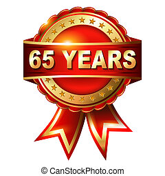65 years anniversary golden label with ribbon. Vector...