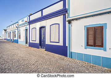 Traditional Portuguese street Ancient architecture
