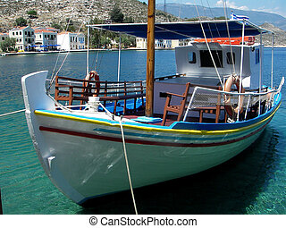 Tourist boat, Greece - A colourful wooden tourist boat...