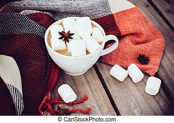 cup of cocoa and warm plaid