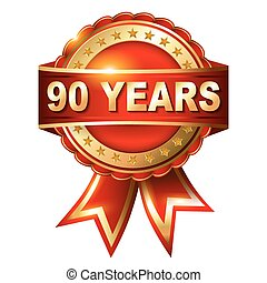 90 years anniversary golden label with ribbon Vector...
