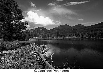 Lake in Rocky Mountains - Rocky Mountain National Park in...