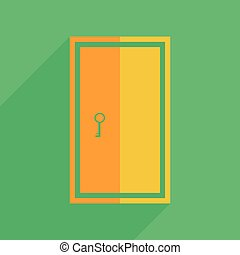 Flat icons modern design with shadow of door Vector...