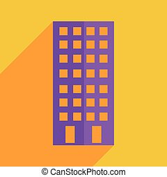 Flat icons modern design with shadow of building Vector...
