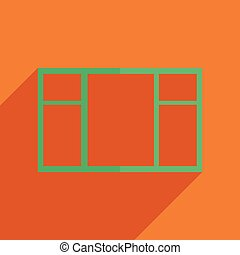 Flat icons modern design with shadow of window Vector...