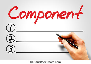 Component blank list, business concept