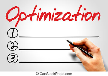 OPTIMIZATION blank list, business concept
