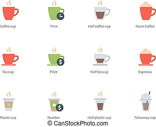 Hot Coffee Cup color icons on white background - Pictogram...