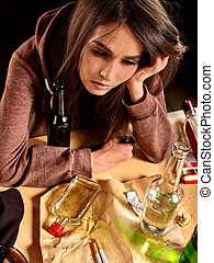 Girl in depression drinking alcohol. - Girl in depression...