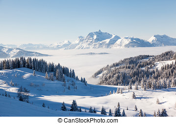Aravis Mountain Range from Les Gets - Winter view from the...