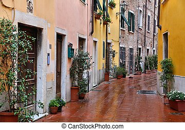 Carrara, Italy - Old Town in the region of Tuscany. Rainy...