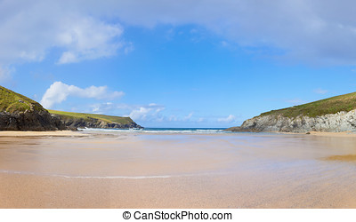Porth Joke in Cornwall - Wide Empty Beach at Porth Joke in...