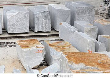 Marble blocks - Carrara, Italy - marble quarry in...