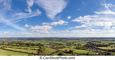 High View of The Somerset Levels - Panoramic view of the...