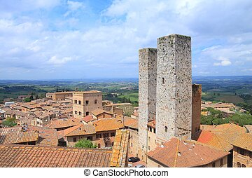 San Gimignano - Towers of San Gimignano, Italy UNESCO World...