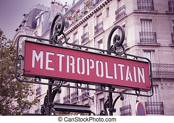 Metro in Paris - Paris, France - retro metro station sign....