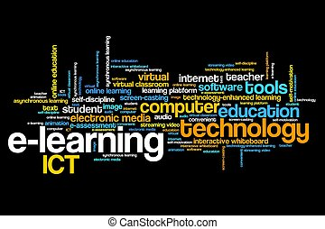 E-learning online course issues and concepts word cloud...
